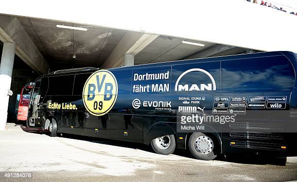 The team bus of Borussia Dortmund arrives at the players entrance prior to the Bundesliga match between FC Bayern Muenchen and Borussia Dortmund at...