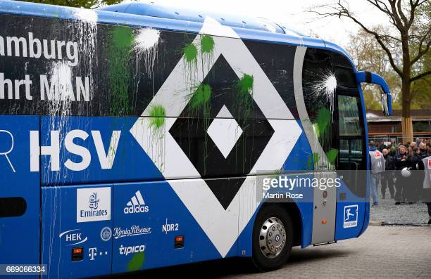 The team bus of Hamburg is pictured before the Bundesliga match between Werder Bremen and Hamburger SV at Weserstadion on April 16 2017 in Bremen...