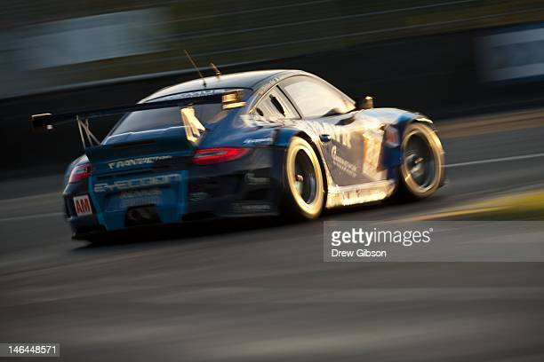The Team Felbermayr Proton Porsche 911 RSR driven by Christian Ried of Germany Gianluca Roda of Italy and Paolo Ruberti of Italy during the Le Mans...
