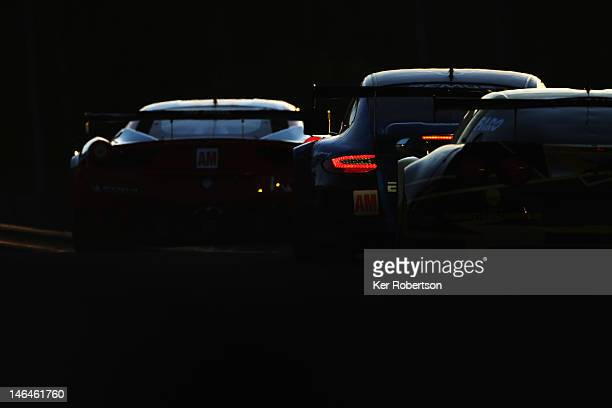 The Team Felbermayr Proton Porsche 911 RSR of Christian Reid Gianluca Roda and Paolo Ruberti drives during the Le Mans 24 Hour race at the Circuit de...