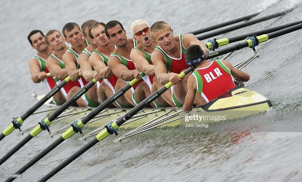 The team from Belarus competes in the Men's Eight Repechage during the FISA World Rowing Championships on August 24 at Dorney Lake in Eton England