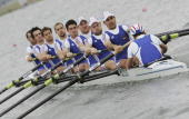 The team from France competes in the Men's Eight Repechage during the FISA World Rowing Championships on August 24 at Dorney Lake in Eton England