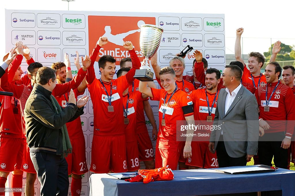 The Team from Kaiserslautern with the Cup during a freindly match between FC Kaiserslautern and FC Augsburg on January 18, 2015 in Belek, Turkey.