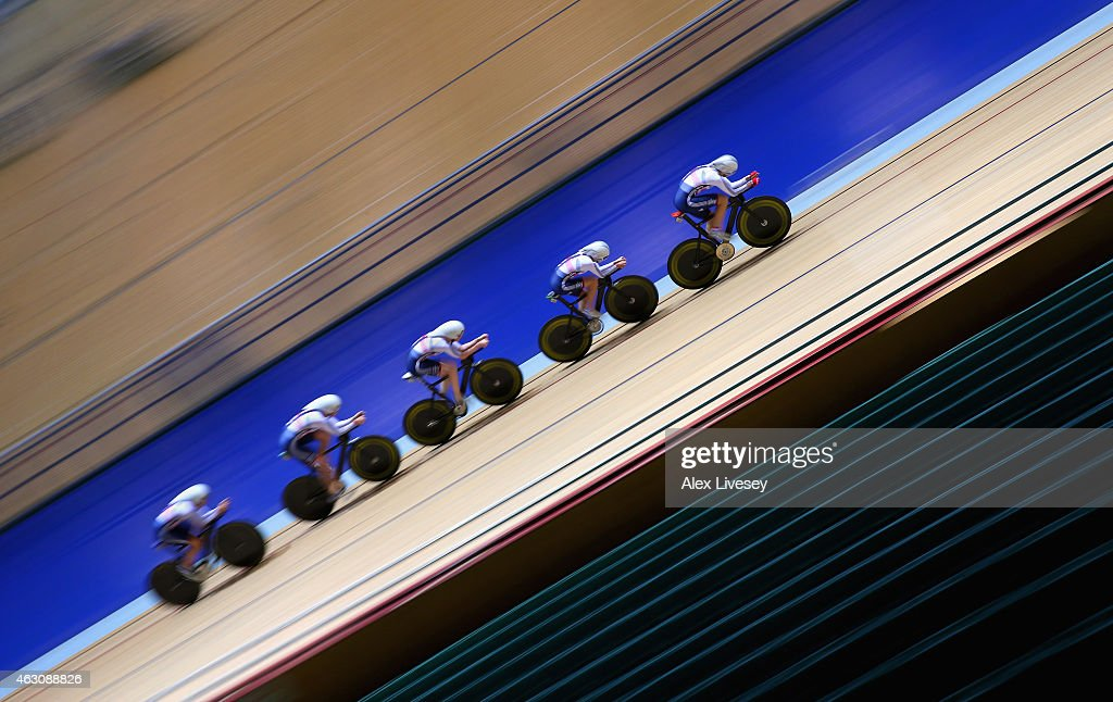 The Team GB women's endurance team of <a gi-track='captionPersonalityLinkClicked' href=/galleries/search?phrase=Laura+Trott+-+Cyclist&family=editorial&specificpeople=7205074 ng-click='$event.stopPropagation()'>Laura Trott</a>, <a gi-track='captionPersonalityLinkClicked' href=/galleries/search?phrase=Joanna+Rowsell&family=editorial&specificpeople=5054365 ng-click='$event.stopPropagation()'>Joanna Rowsell</a>, <a gi-track='captionPersonalityLinkClicked' href=/galleries/search?phrase=Elinor+Barker&family=editorial&specificpeople=8283453 ng-click='$event.stopPropagation()'>Elinor Barker</a>, <a gi-track='captionPersonalityLinkClicked' href=/galleries/search?phrase=Katie+Archibald&family=editorial&specificpeople=11499348 ng-click='$event.stopPropagation()'>Katie Archibald</a> and Ciara Horne train during a Team GB Cycling Media Day at the National Cycling Centre on February 9, 2015 in Manchester, England.