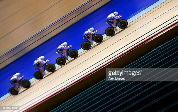 The Team GB women's endurance team of Laura Trott Joanna Rowsell Elinor Barker Katie Archibald and Ciara Horne train during a Team GB Cycling Media...