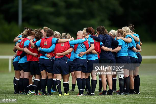 The team huddle together at the end of an England Training Session of the IRB Women's Rugby World Cup 2014 at Stade Montelievres on August 12 2014 in...