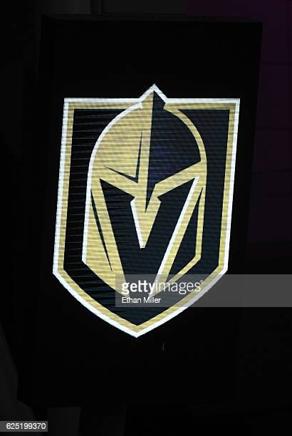 The team logo for the Vegas Golden Knights is displayed on a screen after being announced as the name for the Las Vegas NHL franchise at TMobile...