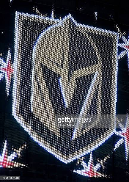 The team logo for the Vegas Golden Knights is displayed on TMobile Arena's video mesh wall after being announced as the name for the Las Vegas NHL...