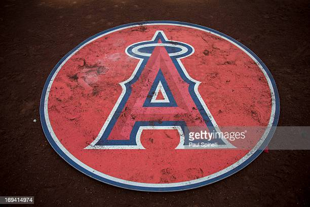The team logo is seen on the ondeck batting circle the Los Angeles Angels of Anaheim game against the Baltimore Orioles on Saturday May 4 2013 at...