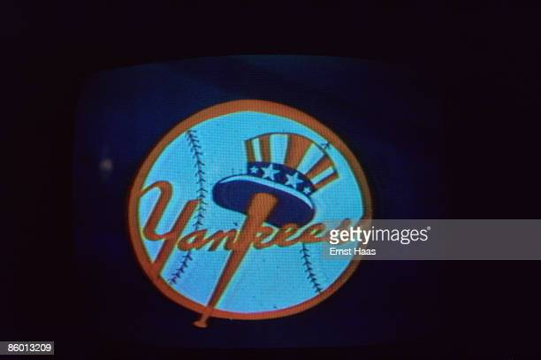 The team logo of the New York Yankees baseball team seen on a TV screen September 1975
