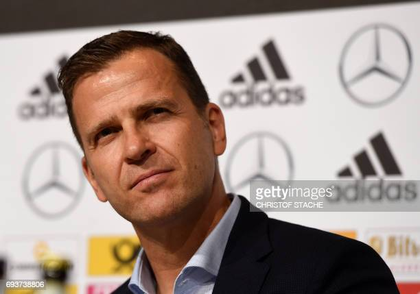 The team manager of the German national football team Oliver Bierhoff follows a press conference in Herzogenaurach southern Germany on June 8 2017...
