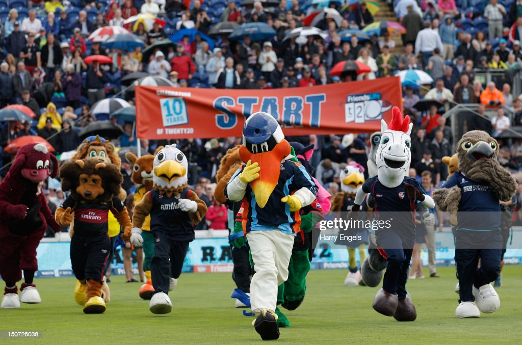 The team mascots compete in the annual mascot race prior to the Friends Life T20 Semi Final match between Hampshire and Somerset at the SWALEC Stadium on August 25, 2012 in Cardiff, Wales.
