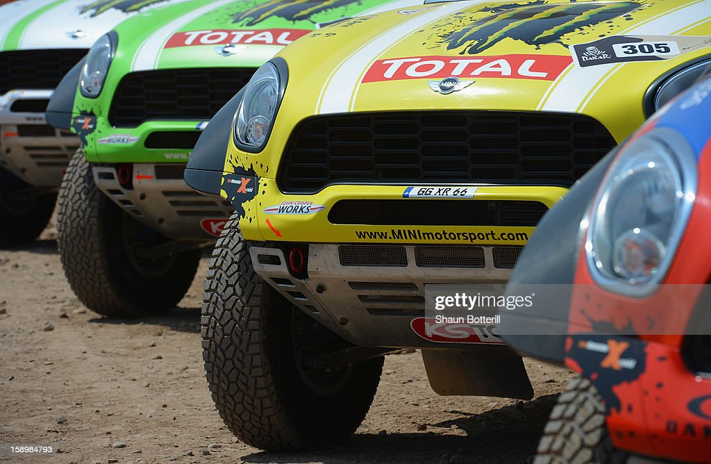 The team Mini cars line up in the Parc Ferme at Magdalena on January 4, 2013 in Lima, Peru.