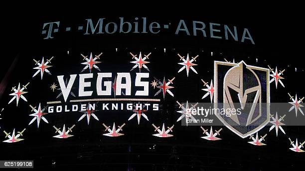 The team name and logo for the Vegas Golden Knights are displayed on TMobile Arena's video mesh wall after the Vegas Golden Knights was announced as...