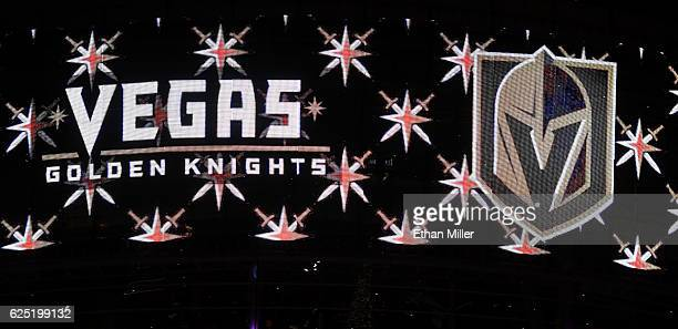The team name and logo for the Vegas Golden Knights are displayed on TMobile Arena's video mesh wall after being announced as the name for the Las...