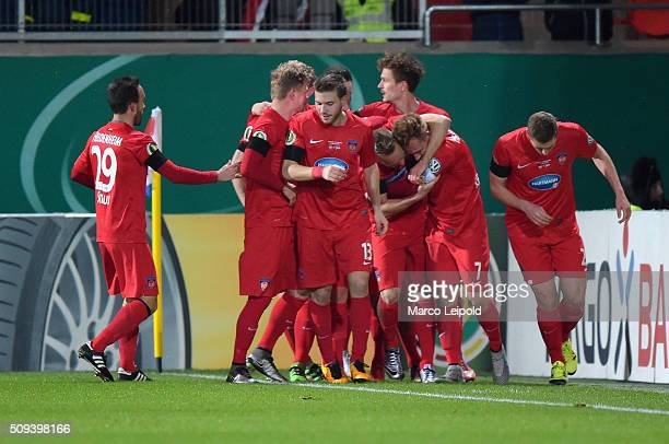 The Team of 1 FC Heidenheim celebrates the 10 goal during the cup match between 1 FC Heidenheim and Hertha BSC on february 10 2016 in Heidenheim...