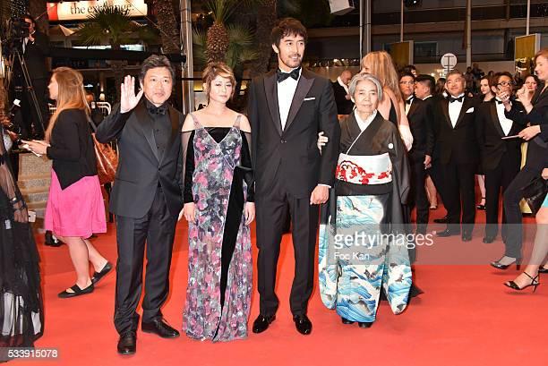 The team of 'After The Storm' Ê Director KoreEda Hirokazu actress Maki Yoko actor Abe Hiroshi and actress Kilin Kiki attend 'The Strangers ' Premiere...