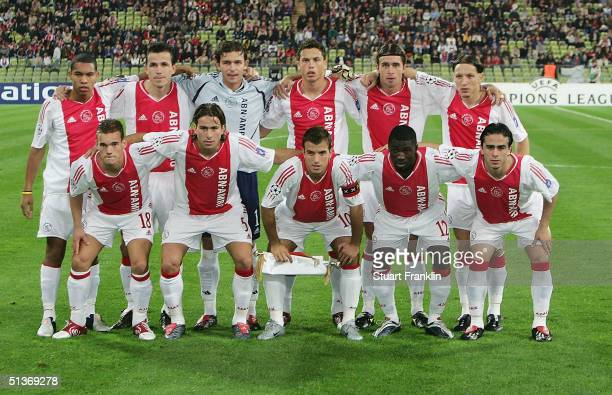 The team of Ajax at the UEFA Champions League match between Bayern Munich and AFC Ajax at The Olympic Stadium on September 28 2004 in Munich Germany