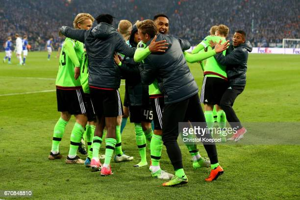 The team of Amsterdam celebrates the first goal by Nick Viergever of Amsterdam during the UEFA Europa League quarter final second leg match between...