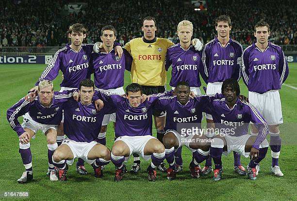 The Team of Anderlecht before The UEFA Champions League match between Werder Bremen and RSC Anderlecht at The Weser Stadium on November 2 2004 in...