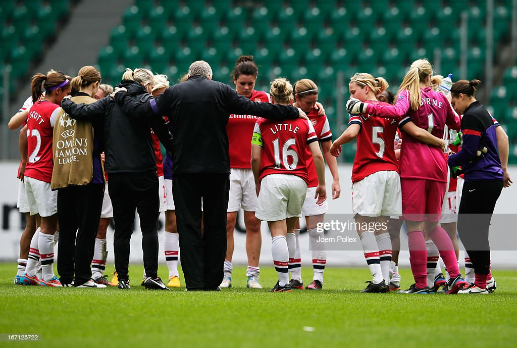 The team of Arsenal is seen after loosing the Women's Champions League semi-final second leg match between VfL Wolfsburg and Arsenal Ladies FC at Volkswagen Arena on April 21, 2013 in Wolfsburg, Germany.