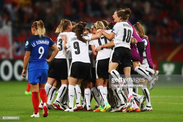 The team of Austria celebrate after the Group C match between France and Austria during the UEFA Women's Euro 2017 at Stadion Galgenwaard on July 22...