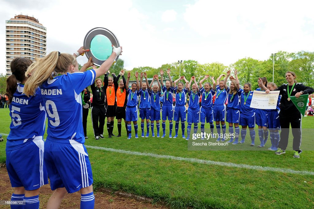 The team of Baden celebrates after winning the U15 Federal Cup of the German Football Association DFB at Sports Academy Wedau on May 12, 2013 in Duisburg, Germany.