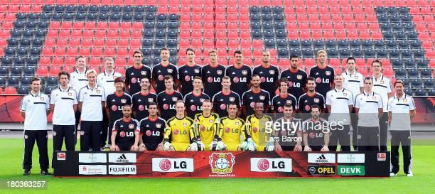 The team of Bayer Leverkusen pose during the Bayer Leverkusen team presentation on September 12 2013 in Leverkusen Germany
