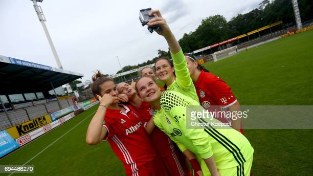 The team of Bayern celebrates after being qualyfied for the final after the B Junior Girl's German Championship Semi Final match between SV Meppen...