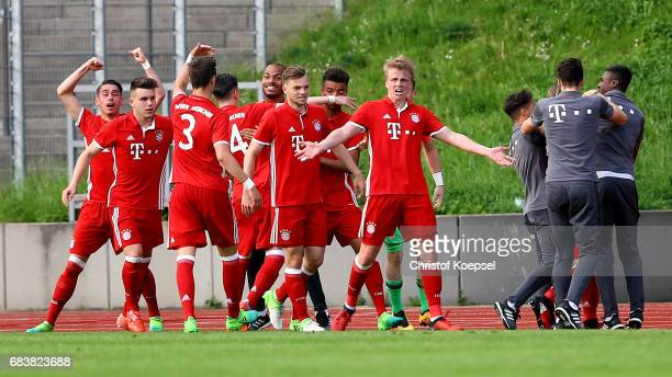 The team of Bayern celebrates the third goal during the U19 German Championship Semi Final second leg match between FC Schalke and FC Bayern at...