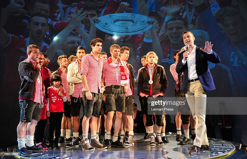 The team of Bayern Muenchen celebrates winning the German Championship during the Official Champion dinner after winning the German championship at Postpalast on May 12, 2013 in Munich, Germany.