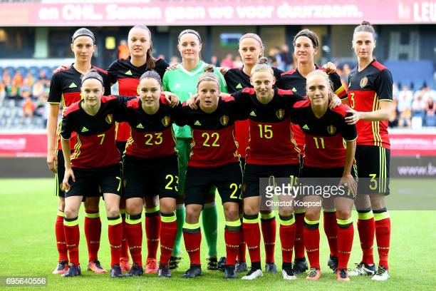 The team of Belgium poses during the Women's International Friendly match between Belgium and Japan at Stadium Den Dreef on June 13 2017 in Leuven...