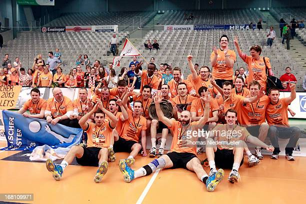 The team of Berlin celebrate after game four of the Bundesliga Final Play Off matches between VfB Friedrichshafen and Berlin Recycling Volleys at the...