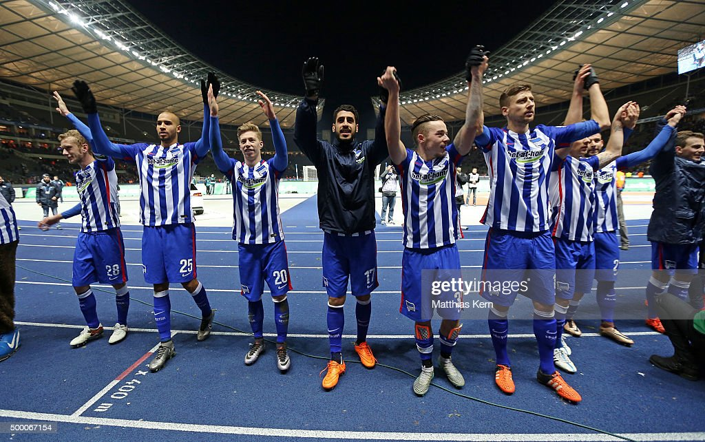 The team of Berlin celebrate after winning the Bundesliga match between Hertha BSC and Bayer Leverkusen at Olympiastadion on December 5, 2015 in Berlin, Germany.