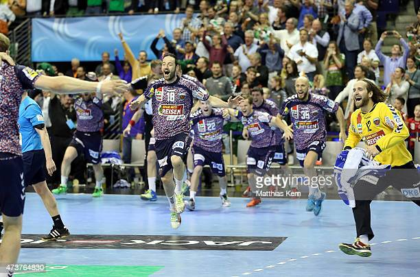 The team of Berlin celebrate after winning the EHF Cup 2015 final match between Fuechse Berlin and HSV Handball at Max Schmeling hall on May 17 2015...