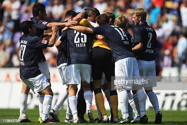 The team of Bochum celebrates after winning the Second Bundesliga match between VfL Osnabrueck and VfL Bochum at Osnatel Arena on May 8 2011 in...