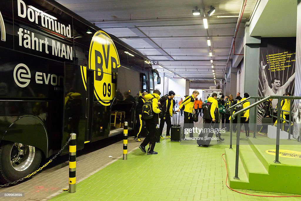 The team of Borussia Dortmund arrives at the stadium prior to the Bundesliga match between Borussia Dortmund and Hannover 96 at Signal Iduna Park on February 13, 2016 in Dortmund, Germany.