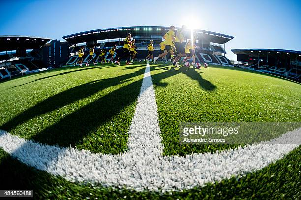 The team of Borussia Dortmund during the training session prior to the UEFA Europa League Play Off Round 1st Leg match between Odds BK and Borussia...