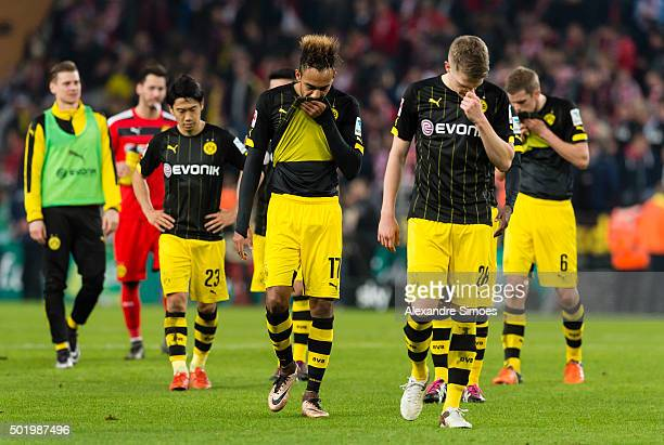 The team of Borussia Dortmund looks dejected after the final whistle during the Bundesliga match between 1 FC Koeln and Borussia Dortmund at...