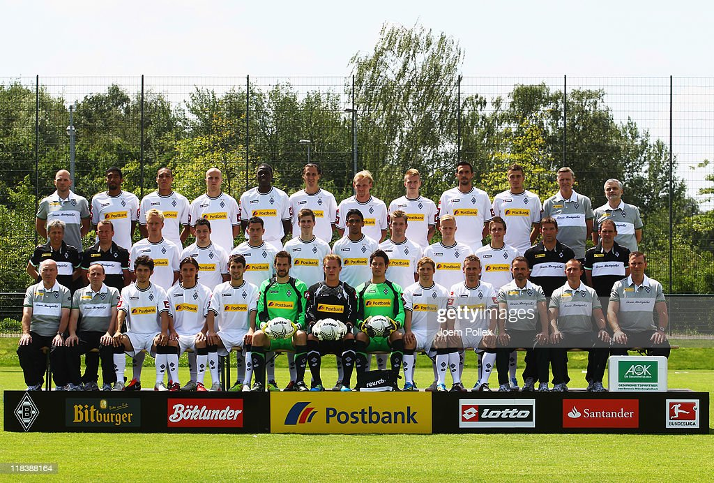 The team of Borussia M'gladbach, (back row (L-R) athletic coach Christian Weigl, Dante, Bamba Anderson, Michael Bradley, Mo Idrissou, <a gi-track='captionPersonalityLinkClicked' href=/galleries/search?phrase=Roel+Brouwers&family=editorial&specificpeople=711197 ng-click='$event.stopPropagation()'>Roel Brouwers</a>, <a gi-track='captionPersonalityLinkClicked' href=/galleries/search?phrase=Tobias+Levels&family=editorial&specificpeople=787384 ng-click='$event.stopPropagation()'>Tobias Levels</a>, <a gi-track='captionPersonalityLinkClicked' href=/galleries/search?phrase=Marco+Reus&family=editorial&specificpeople=5445884 ng-click='$event.stopPropagation()'>Marco Reus</a>, <a gi-track='captionPersonalityLinkClicked' href=/galleries/search?phrase=Martin+Stranzl&family=editorial&specificpeople=674140 ng-click='$event.stopPropagation()'>Martin Stranzl</a>, <a gi-track='captionPersonalityLinkClicked' href=/galleries/search?phrase=Roman+Neustaedter&family=editorial&specificpeople=5437402 ng-click='$event.stopPropagation()'>Roman Neustaedter</a>, team doctor Stefan Hertl, team doctor Heribert Ditzel, (2. row L-R) head coach <a gi-track='captionPersonalityLinkClicked' href=/galleries/search?phrase=Lucien+Favre&family=editorial&specificpeople=4313368 ng-click='$event.stopPropagation()'>Lucien Favre</a>, assistent coach <a gi-track='captionPersonalityLinkClicked' href=/galleries/search?phrase=Frank+Geideck&family=editorial&specificpeople=764812 ng-click='$event.stopPropagation()'>Frank Geideck</a>, <a gi-track='captionPersonalityLinkClicked' href=/galleries/search?phrase=Mike+Hanke&family=editorial&specificpeople=206515 ng-click='$event.stopPropagation()'>Mike Hanke</a>, Mathew Leckie, <a gi-track='captionPersonalityLinkClicked' href=/galleries/search?phrase=Raul+Bobadilla&family=editorial&specificpeople=5967534 ng-click='$event.stopPropagation()'>Raul Bobadilla</a>, Havard Nordtveit, <a gi-track='captionPersonalityLinkClicked' href=/galleries/search?phrase=Igor+de+Camargo&family=e