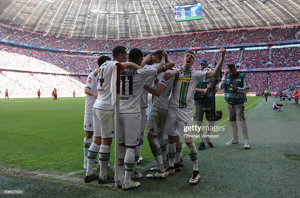 The Team of Borussia Moenchengladbach celebrate after their first goal during the Bundesliga match between FC Bayern Muenchen and Borussia Moenchengladbach at Allianz Arena on April 30, 2016 in Moenchengladbach, Germany