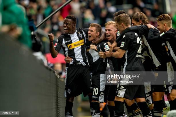 The Team of Borussia Moenchengladbach celebrate the second goal during the Bundesliga match between Borussia Moenchengladbach and Hannover 96 at...