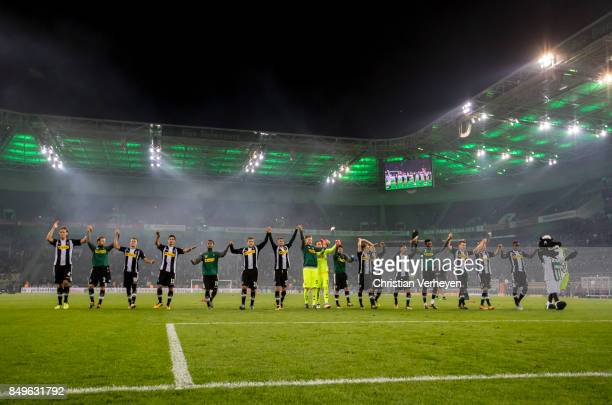The Team of Borussia Moenchengladbach celebrates with the Fans after the Bundesliga match between Borussia Moenchengladbach and VfB Stuttgart at...
