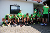 The Team of Borussia Moenchengladbach put on their shoes before a training session at day five of Borussia Moenchengladbach training camp on July 17...