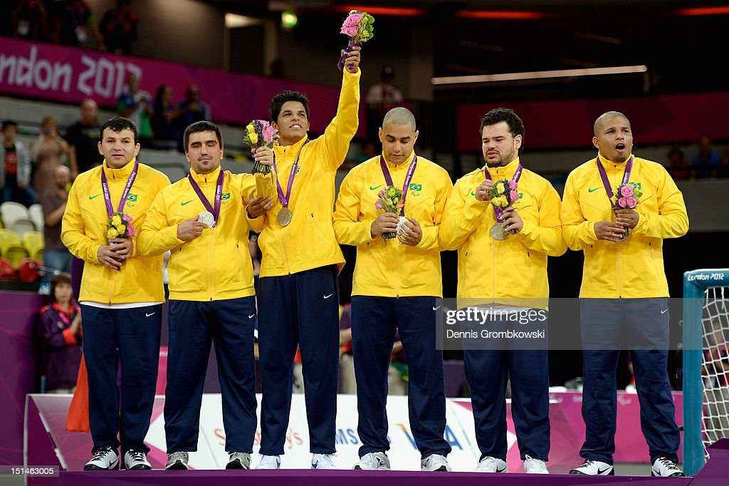 The team of Brazil celebrates after winning the silver in the Men's Team Goalball competition on day 9 of the London 2012 Paralympic Games at The Copper Box on September 7, 2012 in London, England.