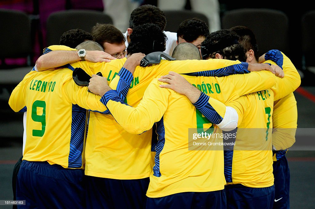 The team of Brazil gets together after their Men's Team Goalball Gold Medal match against Finland on day 9 of the London 2012 Paralympic Games at The Copper Box on September 7, 2012 in London, England.