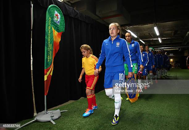The team of Brazil line up in the players tunnel before the FIFA U20 Women's World Cup 2014 group B match between Brazil and Germany at Olympic...