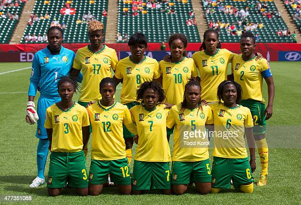 The team of Cameroon pose for a team photo during the FIFA Women's World Cup Canada Group C match between Switzerland and Cameroon at Commonwealth...