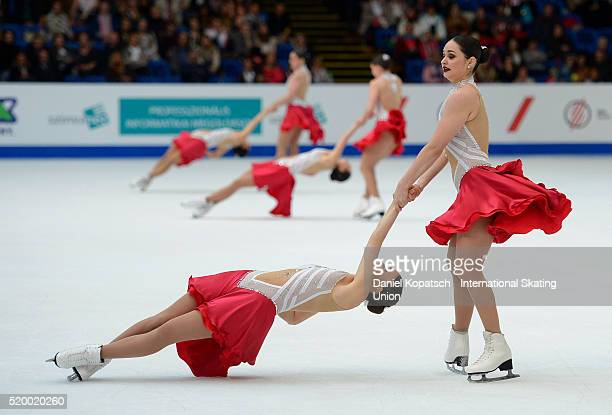 The team of Canada 1 skates during the Synchronized Skating Free Skating of the ISU World Synchronized Skating Championships 2016 on April 9 2016 in...