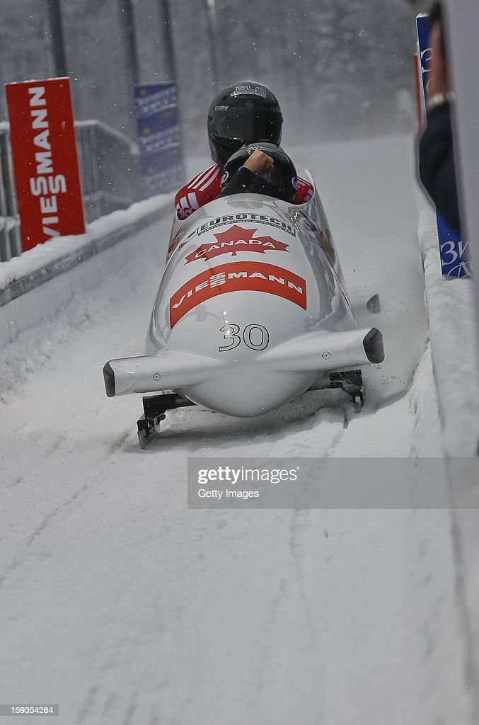 The team of Canada 3 with Justin Kripps and <a gi-track='captionPersonalityLinkClicked' href=/galleries/search?phrase=Lascelles+Brown&family=editorial&specificpeople=211010 ng-click='$event.stopPropagation()'>Lascelles Brown</a> during the second run on January 12, 2013 in Koenigssee, Germany.